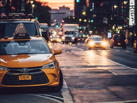 Yellow taxi on the street of New York