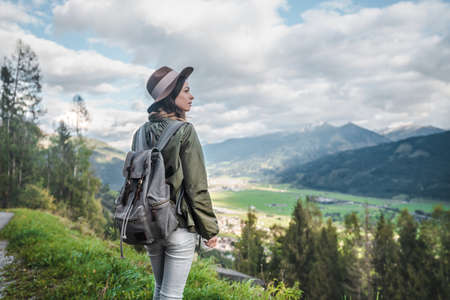 Young attractive woman in the mountains in Austria