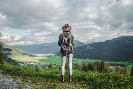 Young traveler in the mountains in Austria Stock Photo