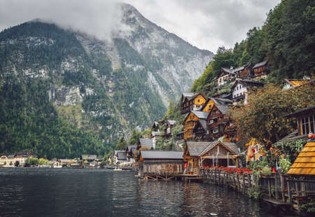 Alpine village Hallstatt by the mountains Stock Photo