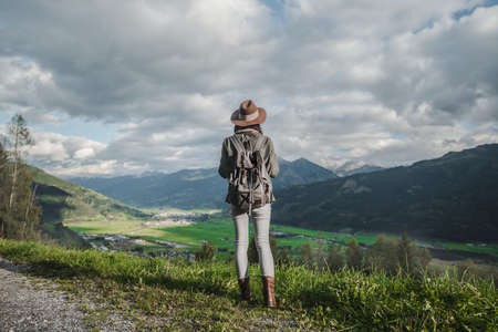 Young woman in a hat in Austria