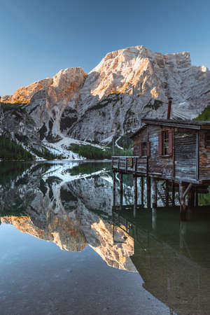 Wooden hut at Lake Braies in Italy