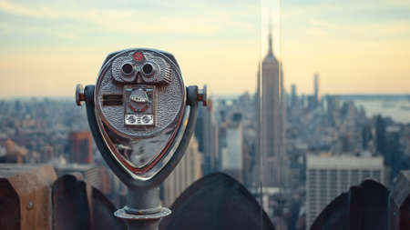 Observation binoculars in a tourist location in New York
