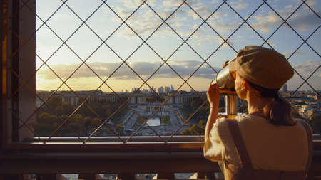 Attractive girl at viewpoint in Paris, France