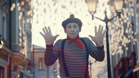 Mime on the street in Moscow, Russia