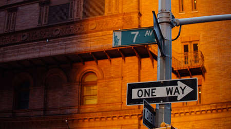 Street signs in New York in the sun