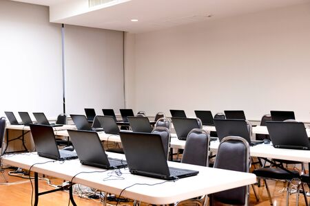 laptop arranging rows in the training room
