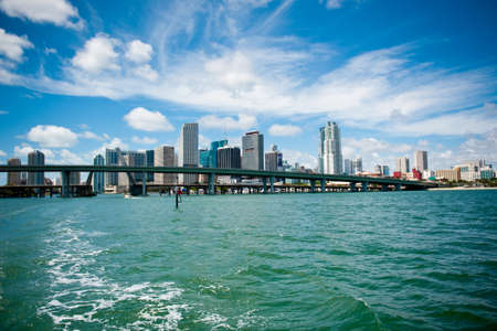 Miami city view from the boat