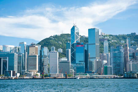 strait: view of hong kong from victoria embankment through the strait of