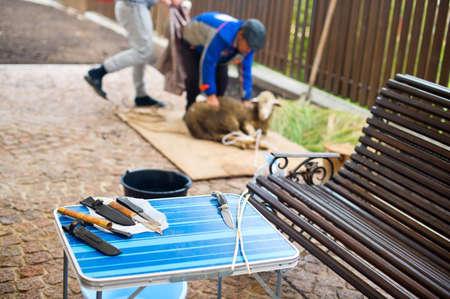 humanismo: Cuchillos en la mesa y los hombres con ovejas ritual en el fondo listo para acabar con él el día de fiesta musulmán