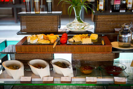 Delicious hotel restaurant allinclusive buffet with tasty food. Cheese plate