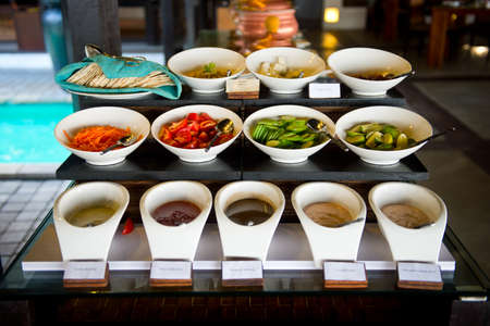 Delicious hotel restaurant allinclusive buffet with tasty food. Vegetables for vegans