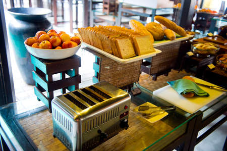 Delicious hotel restaurant allinclusive buffet with tasty food. Bread and toaster