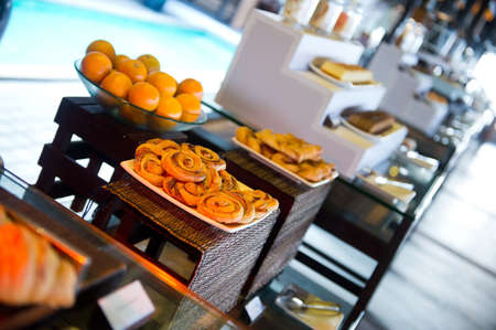 Delicious hotel restaurant allinclusive buffet with tasty food. Baking on plates