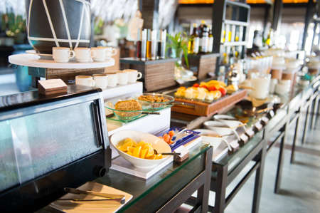 Delicious hotel restaurant allinclusive buffet with tasty food