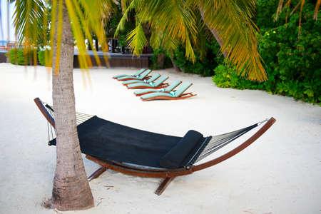 Hammock on sand near palm on the seashore on tropical luxury island resort Stock Photo