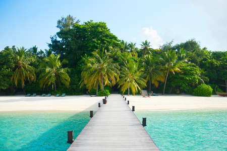 Scenic road from the pier to the island. Luxury tropical resort