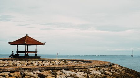 Gazebo on the beach where you can see the ocean view