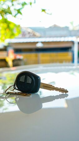 Close up the car keys on the table