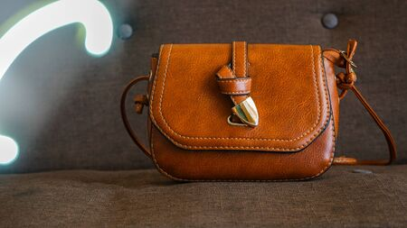 Close up brown leather bag