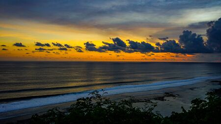 Beautiful view of the sky at sunset on the beach from the top of the cliff