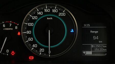 Close up of car speed gauge