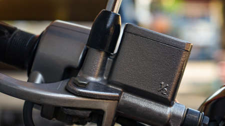 Close up motorcycle brake fluid