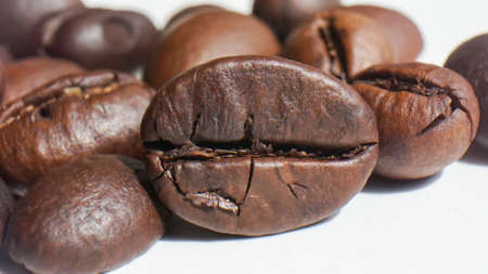 Close up roasted coffee beans