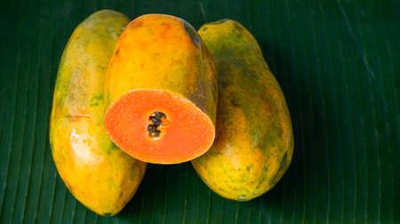 Close up of ripe papaya fruit