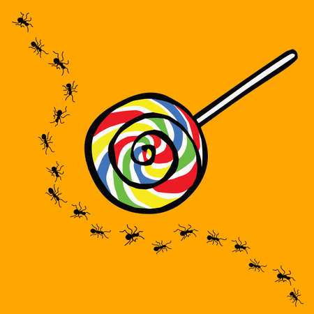 uninterested: ant and lollipop , uninterested concept Illustration