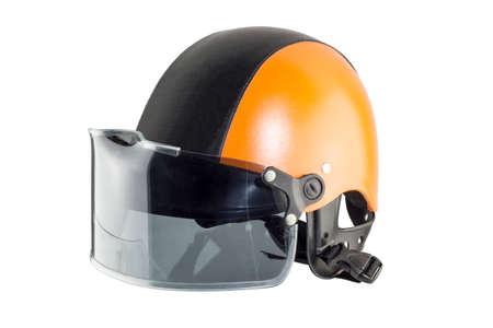 Orange black motorcycle helmet photo