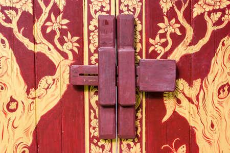 wooden door bolt lock , Thailand style photo