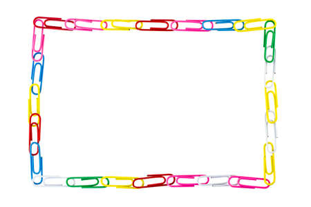 Paper Clips Frame On White Background Stock Photo, Picture And ...