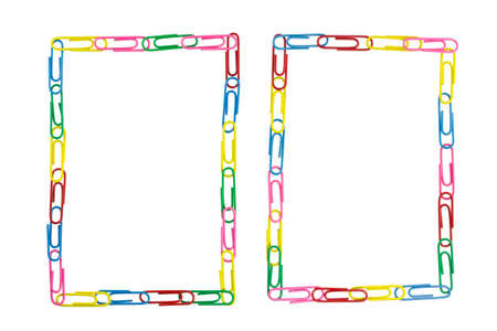 casing paper: paper clips frame on white background Stock Photo
