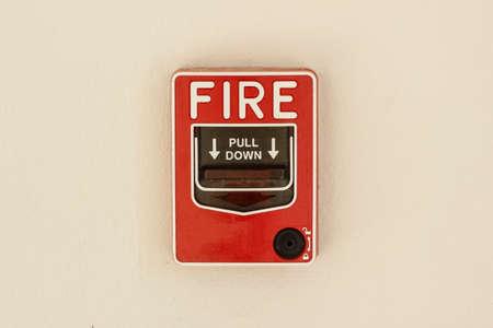 evacuate: fire alarm control panel on wall Stock Photo