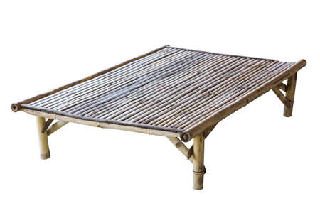 thailand bamboo: Old bamboo table isolated on white, Thailand culture.