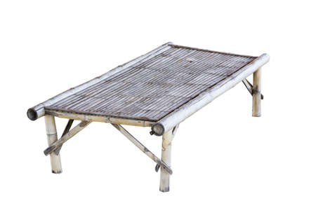 thailand culture: Old bamboo table isolated on white, Thailand culture.