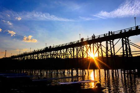 longest: Silhouette Wooden Mon Bridge, the longest wooden bridge of Thailand
