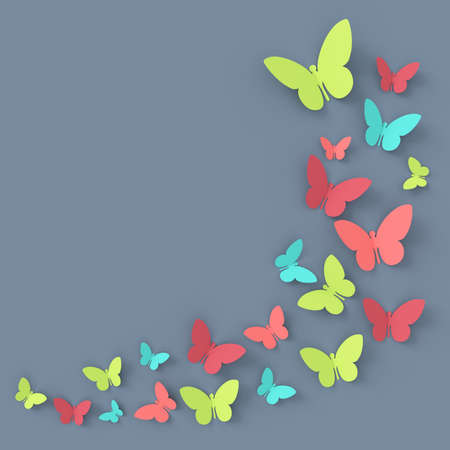 Butterfly background. 3D rendering. Stockfoto