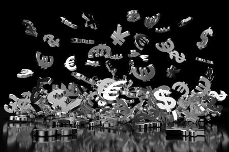 Silver currency symbols on black background. 3D rendering.