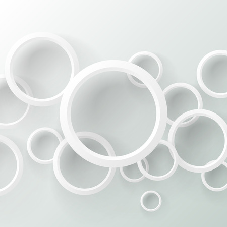 plastic backdrop: White circle abstract background on white with shadows. Paper Cut  range. Geometric applique disk backdrop. Ring background. Paper cut. Plastic shiny. Glossy rings. Set of plastic rings. Origami white Circle.