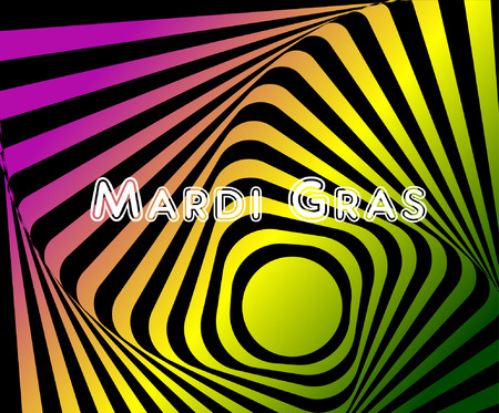 Multicoloured optical illusion. Vasarely optical effect. Multicoloured Twisted Stripes Background, torsion and rotation movement. Dynamic effect, striped background. One More Go-around motion illusion Illustration