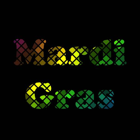 mardigras: Icon Mardi Gras carnival. Bright colorful lights. Festival New Orleans Fat Tuesday. Dark background with colored sparkles. Congratulation to the holiday Shrove Tuesday. Bright disco mosaic