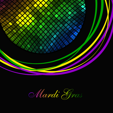 Icon Mardi Gras carnival. Bright colorful lights in frame. Festival New Orleans Fat Tuesday. Dark background with colored sparkles. Congratulation to the holiday Shrove Tuesday. Bright disco mosaic Illustration