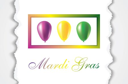 Mardi Gras carnival. Bright purple, green and yellow balloons. Festival New Orleans Fat Tuesday. Set with beautiful transparent aerostat. Congratulation to the holiday Shrove Tuesday Illusztráció