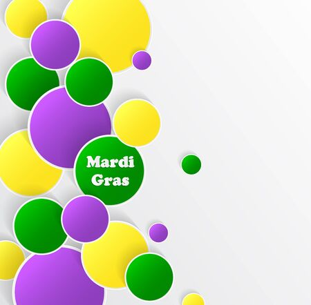Mardi Gras carnival. EPS10. Bright purple, green and yellow circle. Festival New Orleans. Fat Tuesday. Colorful ethnic Indian tricolor. Round stickers for websites, cards, buttons. Illustration
