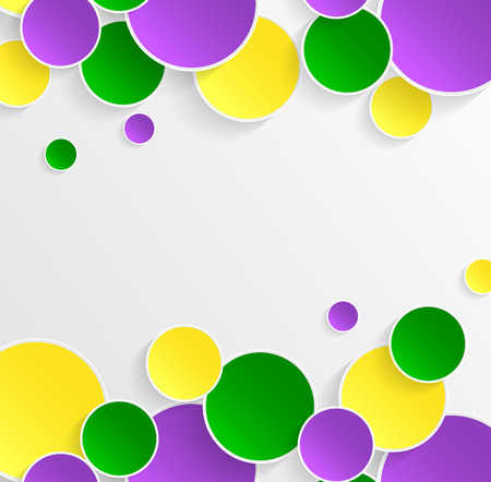 Mardi Gras carnival. Bright purple, green and yellow circle. Festival New Orleans. Fat Tuesday. Colorful ethnic Indian tricolor. Round stickers for websites, cards, buttons.