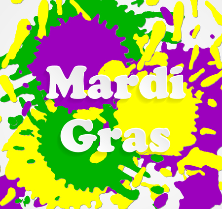Mardi Gras carnival. Festival New Orleans Fat Tuesday. Congratulation to Shrove Tuesday. Lettering on tricolor backdrop. Colourful splash background for banner or site. Multicolored spots and blot Illusztráció