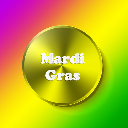 Mardi Gras carnival. Festival New Orleans Fat Tuesday. Congratulation to Shrove Tuesday. Lettering on tricolor backdrop. Colourful background for banner or site.