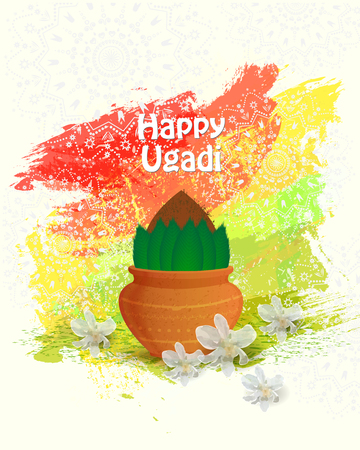 Happy Ugadi Poster with text on color background, vector illustration.